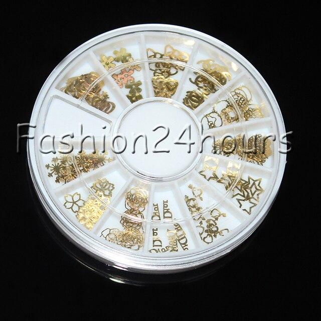 10 Wheel/lot 120pcs Wheel Gold Nail Art Sticker Decoration Acrylic Tips Metal Slice Wheel Tiny Mixed Design Free Shipping