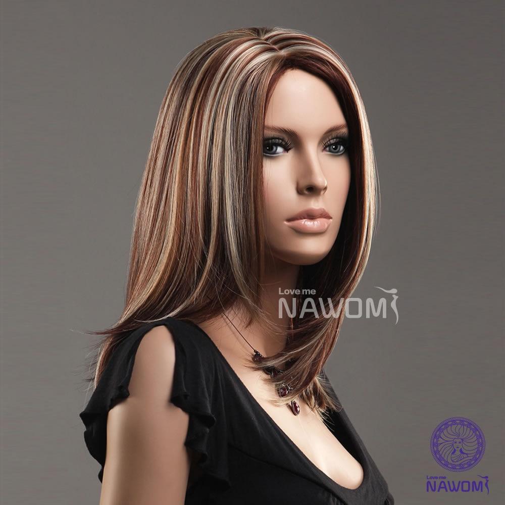 New Kanekalon Center Parted Bang Highlight Shoulder Length Hairstyle