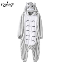 Totoro Onesie Adult Kigurumi Men Women Pajama Gray Cat Cartoon Overall Party Suit Flannel Thicker Warm Soft High Quality