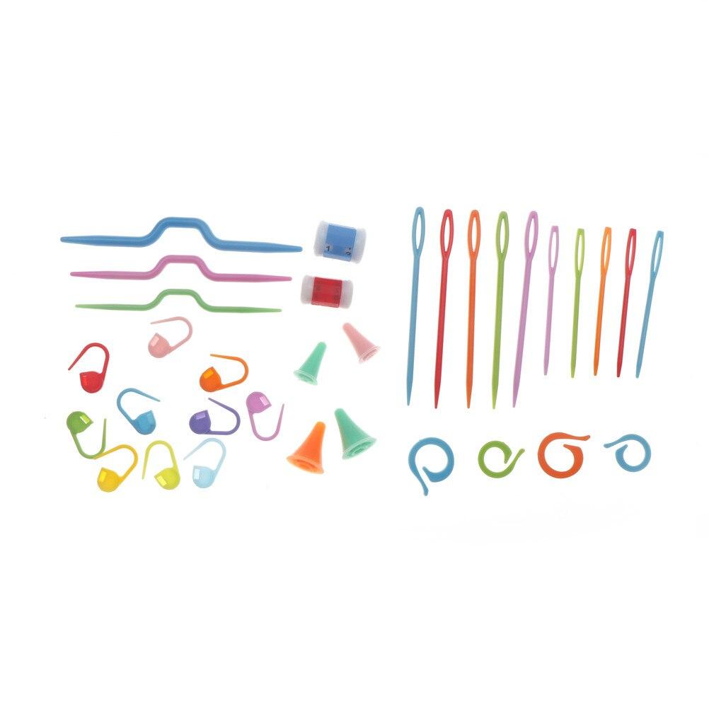Mini Travel Sewing Kits Plastic Knit Stitch Knitting Needles Crochet Hook Box Pin Caps Counters Mark Buckle Twist Pin Home Tools