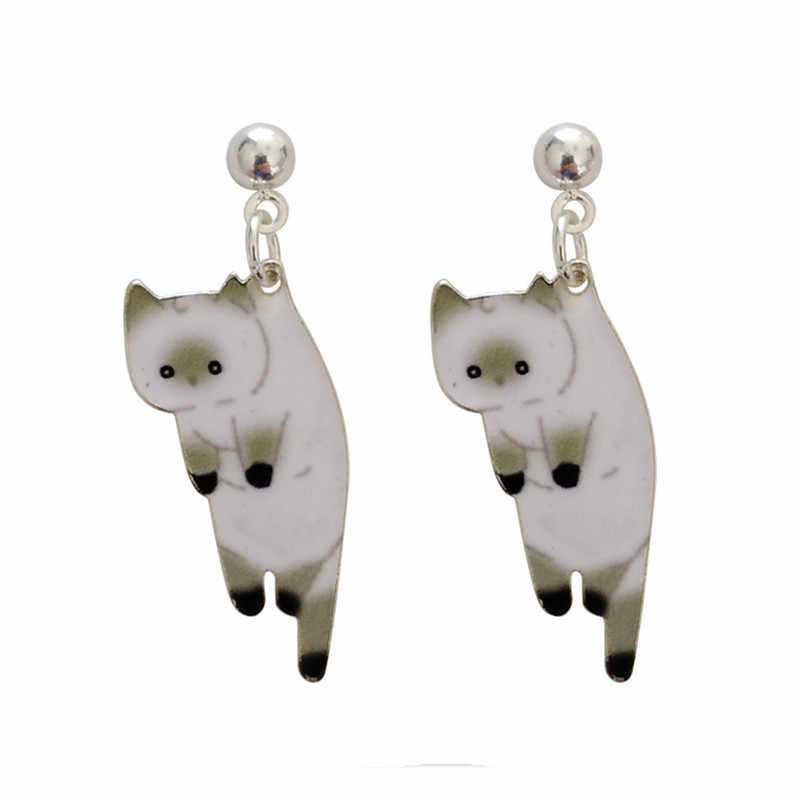 2019 Fashion women stud earrings Animated cartoon cat female stud earrings Printing cute little cat earrings for women Jewelry