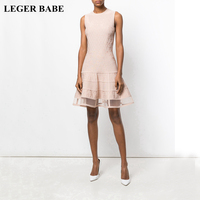 LEGER BABE New Black Red Nude Rayon Bandage Dress Sleeveless Women A Line Dresses Cocktail Party Vestidos