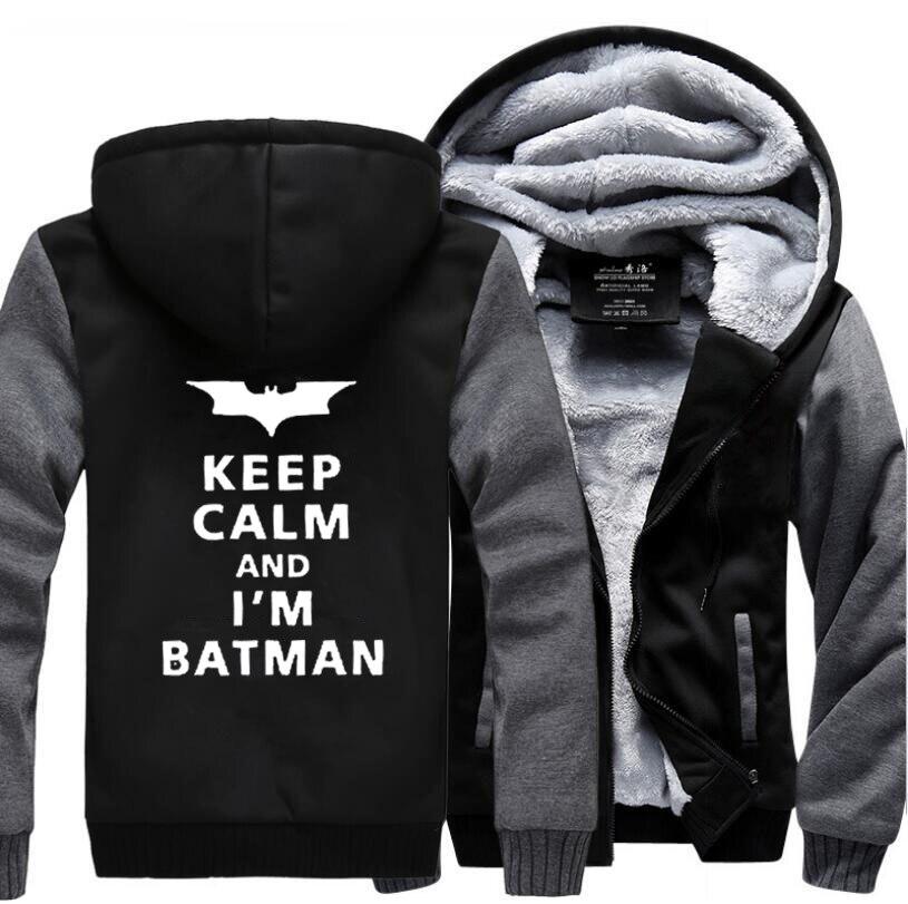 Хэмпсон lanqe Супермен Keep Calm I Am Batman» Повседневное с капюшоном Для мужчин 2017 Зима Куртки теплый флис Мода Для мужчин кофты толстовки