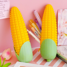 Creative Corn Pencil Bag Waterproof Soft Silicone Case Large Capacity Storage for School Students Stationery