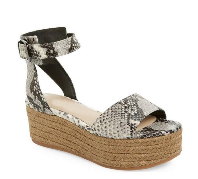 Moda Para Mujer Alpargatas Cuñas de Talón Abierto Zapatos de Plataforma Sandalias de Punta Abierta Hebilla