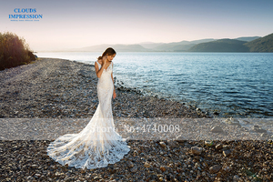 Image 5 - Romantic Chapel Train Mermaid Wedding Dress 2019 V neck Beading Beach Lace Bride Dress Vestige De Noiva