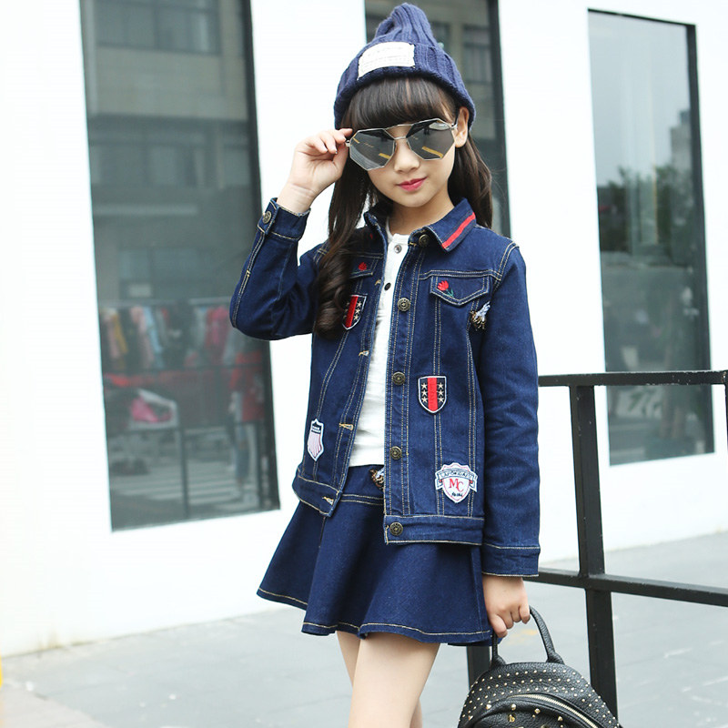 Newest Girls Denim Jacket Skirt Suits Set Cute Children Teen Japanese School Girls Clothes Spring Style Girl Jeans Clothing Set