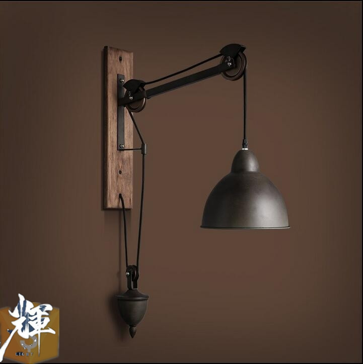 American vintage Iron loft industrial wall lamp indoor lighting bedside lamps wall lights for home 110V/220V E27 Edison Bulb tiffany shell vintage stained glass iron mermaid wall lamp indoor lighting bedside lamps wall lights for home ac 110v 220v e27