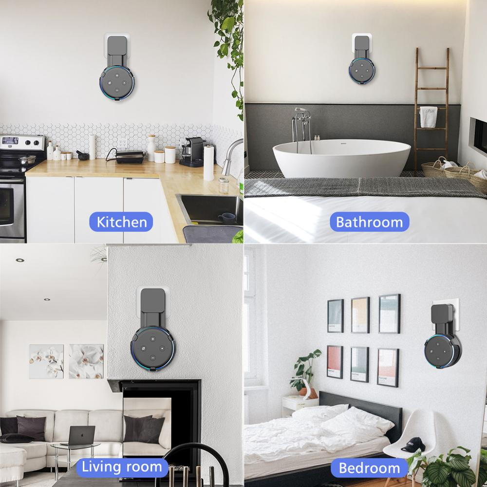 No Messy Wires or Screws-Compact Bracket Case Plug in Bedroom Frienda Outlet Wall Mount Hanger Holder Stand for Dot 3rd Generation Smart Home Voice Assistants Bathroom White Kitchen