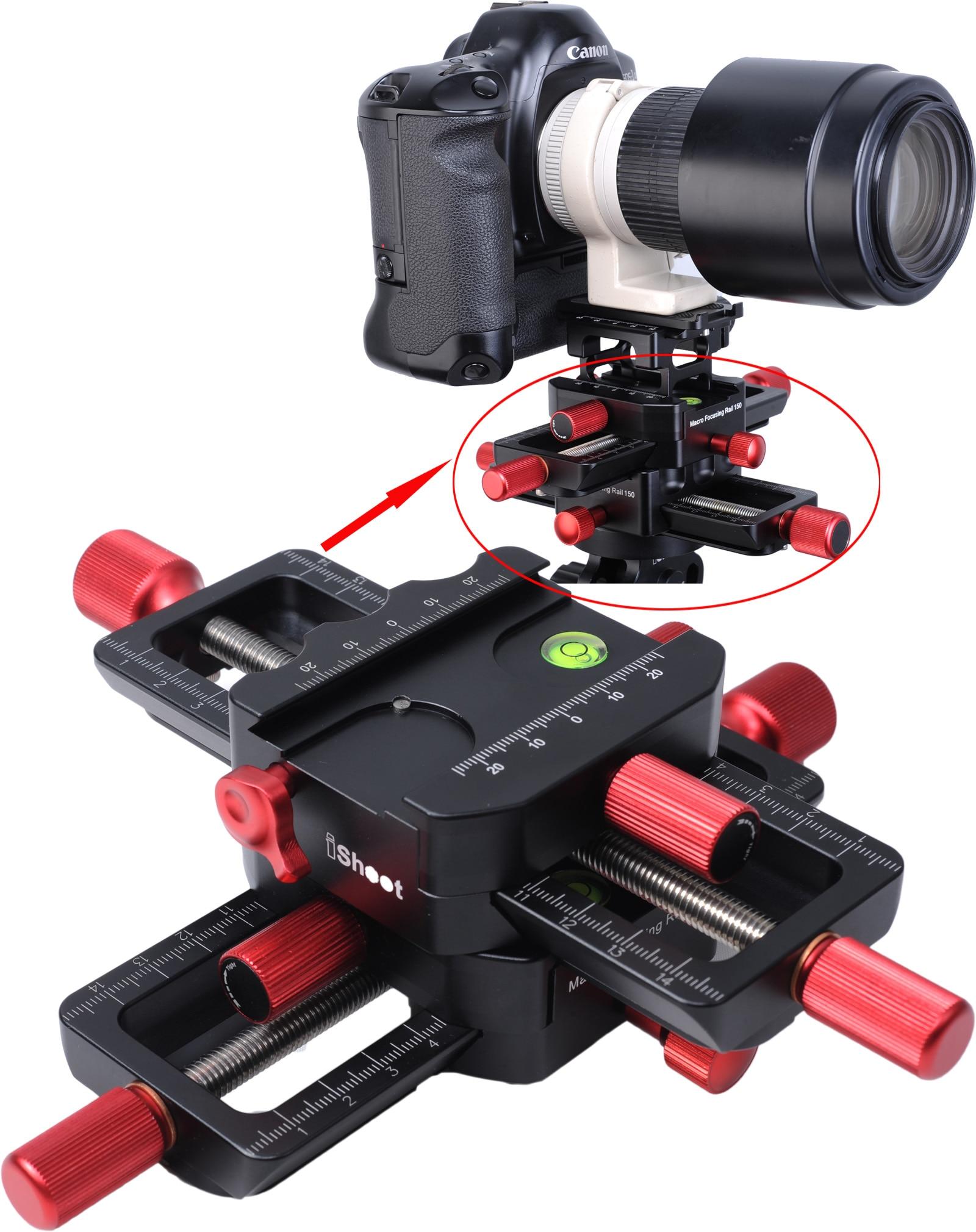 Tête de curseur de Rail de mise au point Macro 4 voies 150mm avec fixation arca-swiss plaque de fixation rapide pour trépied tête à billes Canon Sony caméra