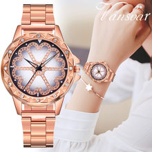 Casual Exquisite Splendid Crystal Quartz Stainless Steel Band Women Lucky Flower Rhinestone Watches Free Shipping Dropship(China)
