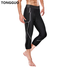TONGGUO Mens Waist Trainer Pants Neoprene Body Shaper Slimming Control Shorts Elastic Trousers Bottom Shapewear Reducing Weight