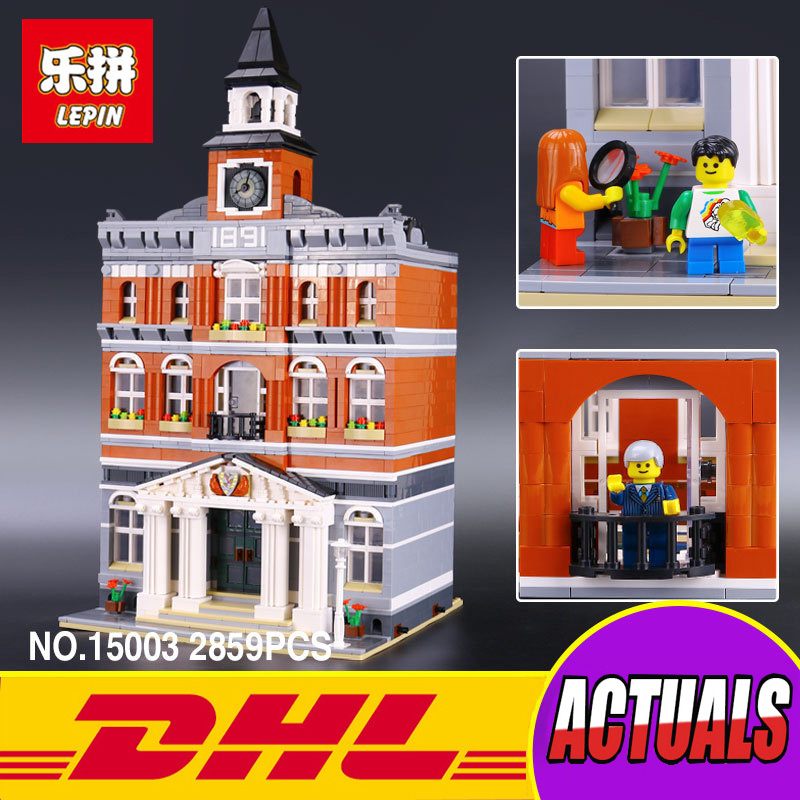LEPIN 15003 New 2859Pcs Creators The town hall Model Building Kits Blocks Kid Toy Compatible Brick Christmas Gift lepin 15003 2859pcs city creator town hall sets model building kits set blocks toys for children compatible with 10024