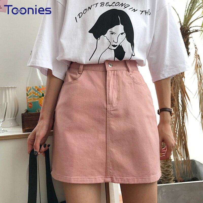 2018 Summer New Brand Quality Denim Skirts Women High Elastic Waist Jeans skirts womens A Line Mini jeans skirt Women