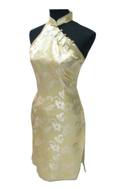 Hottest Gold Chinese Female Satin Cheongsam Short Mini  Backless Qipao Halter Prom Dress One Shoulder Size S M L XL XXL S027-F