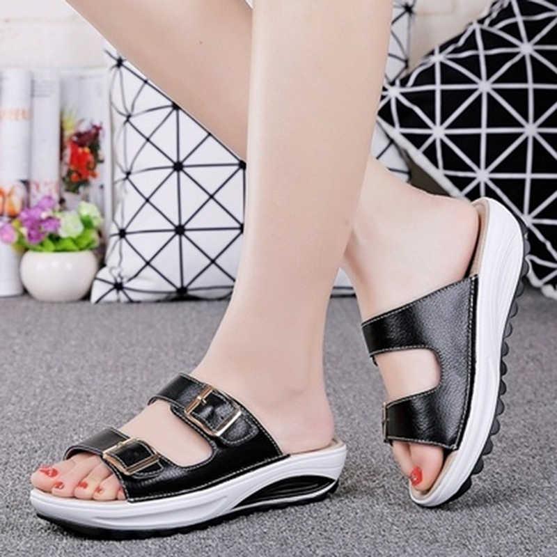 קיץ נשים סנדלי טריזי סנדלי גבירותיי פתוח הבוהן עגול הבוהן אבזם שחור צהוב לבן פלטפורמת סנדלי נעליים