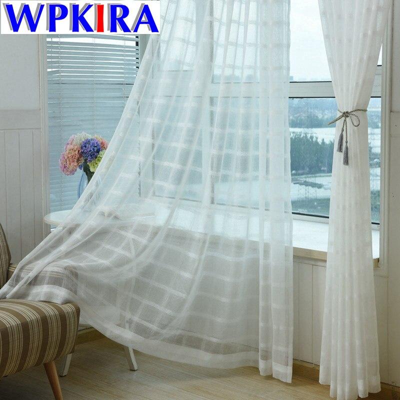 Moderne Solide Rayé Fenêtre Tulle Salon Fenêtre Rideau Drapé - Textiles de maison