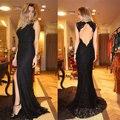Side Slit 2017 Mãe Dos vestidos de Noiva Sereia Laço Apliques Com Decote Em V Aberto Para Trás Uma Linha de Personalizar o Vestido para Casamentos Vestidos de Madrinha
