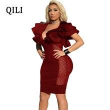 QILI Women Sexy Party Dress Ruffles Short Sleeve See Through Mesh Elegant Bodycon Dresses Night Club Wear Black Blue 2XL