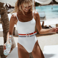 Sexy Belted Ribbed Stretch Knit swimsuit Bathing Suit Backless Monokini Female High Cut Thong Swimwear Women One Piece Swimsuit