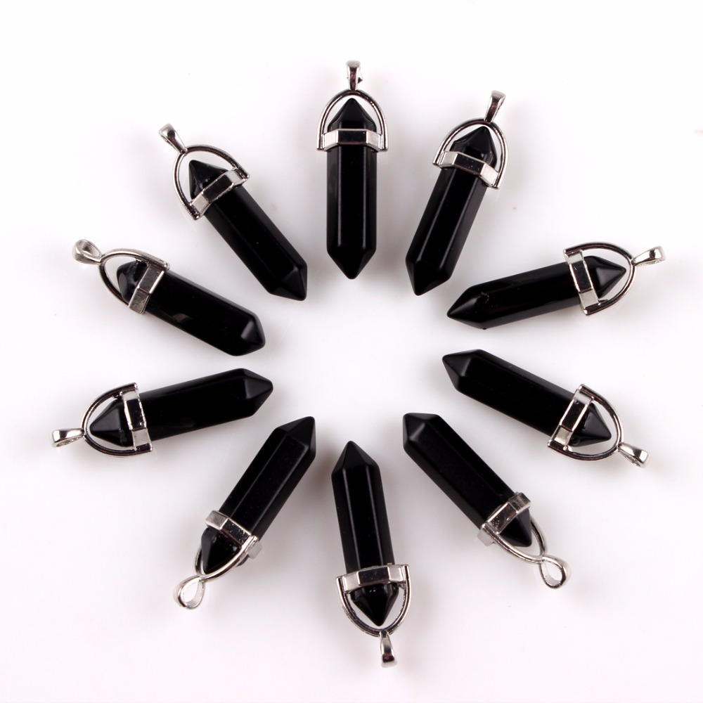 10ピース/ロット黒黒曜石天然混合宝石ストーンポイント六角形クリスタルジュエリーアクセサリー声明女性ネックレスペンダント