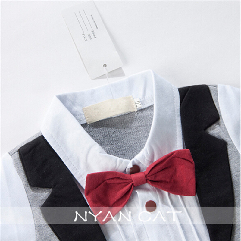 553003ae5a3f Baby Boys Gentleman Style Rompers Toddlers Red Bow Tie Jumpsuits Newborn  European Design Tuxedo Infant Short Sleeve Clothes-in Rompers from Mother    Kids on ...