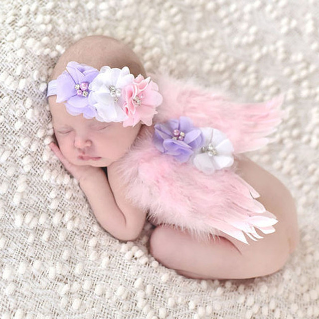 Newborn photography props costume cute angel wings headband photo props infant baby girls boys outfits