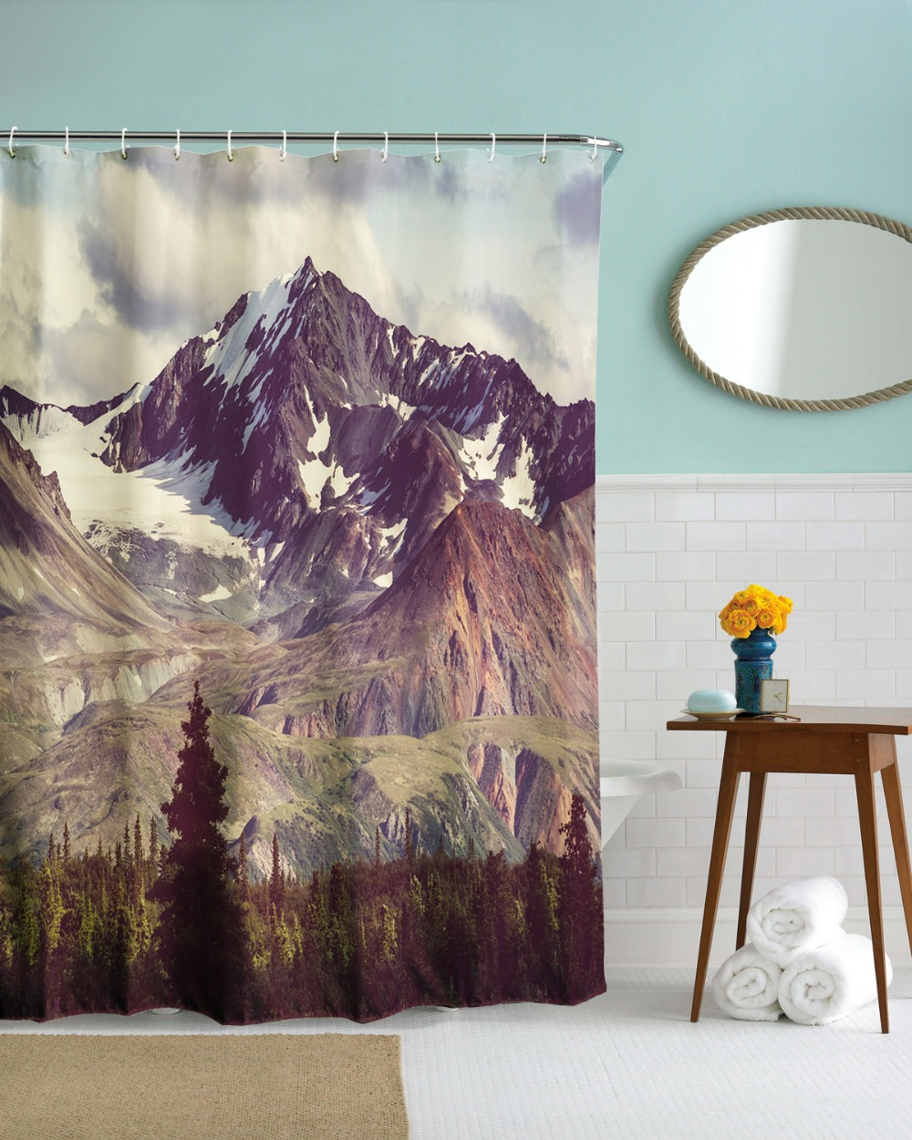Fabric paris shower curtain - 3d Creative Alaska Iceberg Hill Shower Curtain Waterproof Fabric Polyester Bathroom Curtain Bath Curtain Cortinas American Style