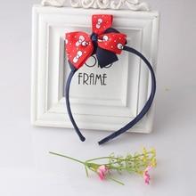 M MISM Korean Style Bowknot Children Hair Band Printing Dot Bow Tie Hoop Sweet Girls Ribbon Headband Accessories