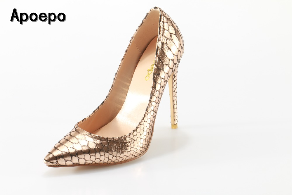 Apoepo Newest Gold snakeskin high heel shoes 2017 sexy pointed toe stiletto heels woman slip-on pumps thin heels shoes newest bling bling glitter high heel shoes 2017 sexy pointed toe woman pumps celebrity thin heels wedding shoes black gold silve