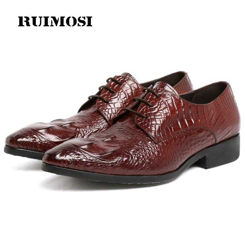 RUIMOSI Luxury Pointed Toe Crocodile Man Formal Dress Wedding Shoes Genuine Leather Male Oxfords Men's Derby Bridal Flats LF95