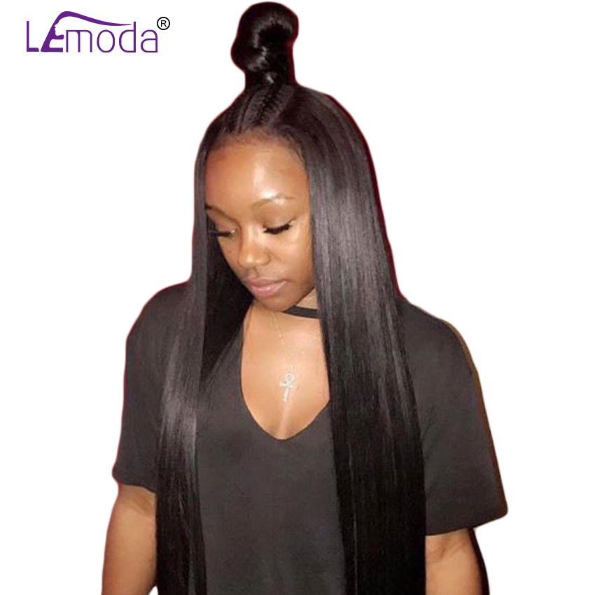 Lace Front Human Hair Wigs Malaysian Straight Hair Wigs For Black ... 1bdc351b1