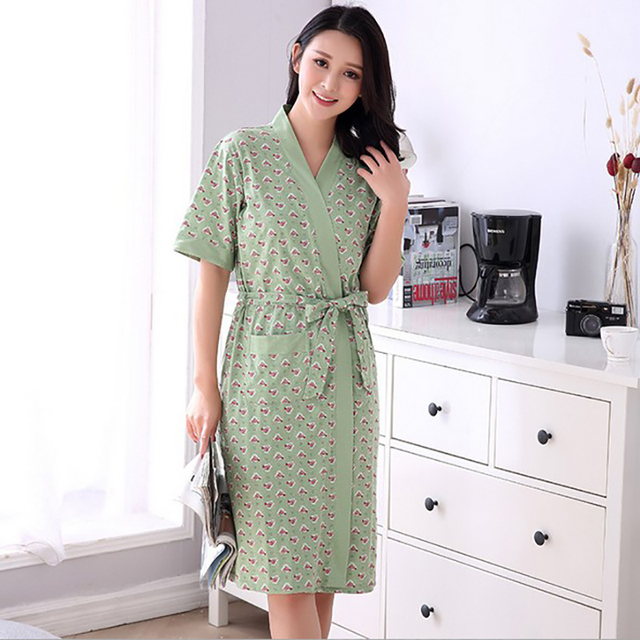 6e5b5d8c81e6 Today Special Women s Floral Pink Robe Short Sleeve Knitted Cotton Sleep Lounge  Robes Bride Kimono Robes For Women