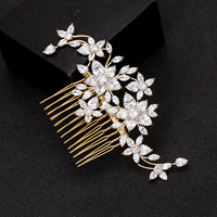 Cubic Zirconia Hair Comb Flower Clip CZ Women Hair Jewelry For Bride Wedding Hair Accessories Pince Cheveux 11x6.5cm WIGO1081