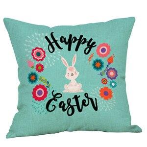Image 2 - Mignon lapin imprimer coton lin carré maison décorative jeter taie doreiller canapé taille housse de coussin confortable oreillers décoratifs