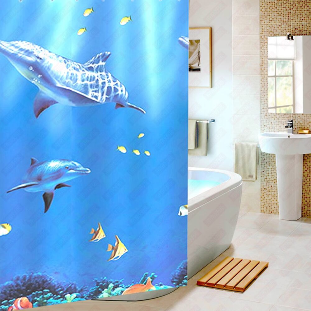 Blue bathroom curtains - Undersea Scenery Dolphin 3d Waterproof Fabric Shower Curtains For Bathroom With Hooks China Mainland