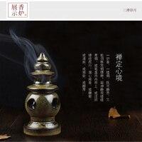 Special tower incense burner purple clay censer Mini ceramic Home burner antique with 20 grains cone incense.