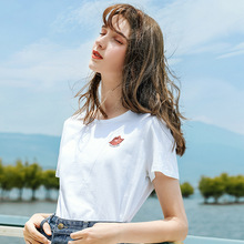 AcFirst Women Tops Casual White T-shirts Solid Shirt V-Neck Short Plus Size T Shirt Women Cotton Sexy Cut Out Tees Diamonds недорого