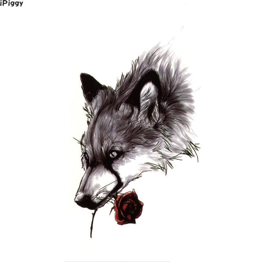 IPiggy Wounded Lonely Wolf Waterproof Temporary Tattoos Sad Animal Temporary Tattoo Tatouage Rose Fake Tattoo Sleeve Sticker