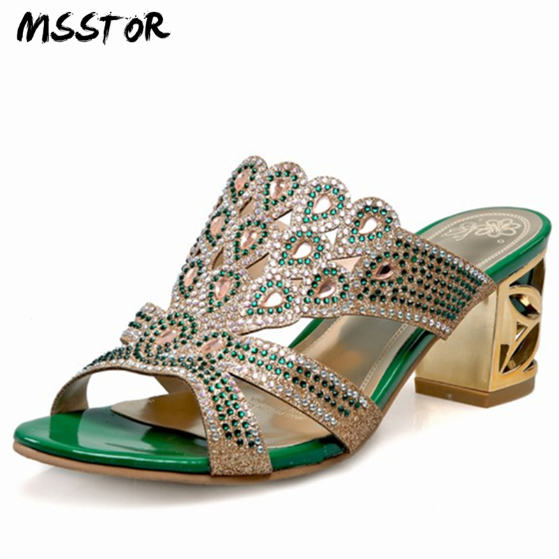 MSSTOR Fashion Heel Pumps Women Shoes Casual Plus Size 34-44 Peep Toe Mixed Colors Hollow Summer Shose Crystal Woman Slippers