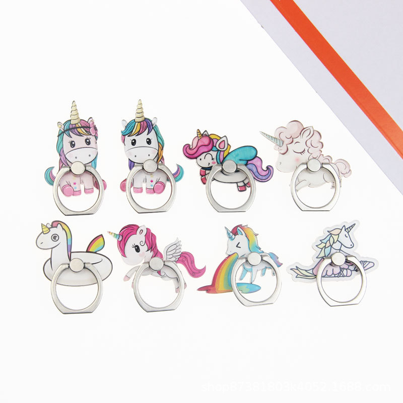 Universal Color Pony Socket Finger Ring Mobile Cell Phone Cute Cartoon Phone Holder Stand For IPhone 7 8 Plus X Bracket Holder