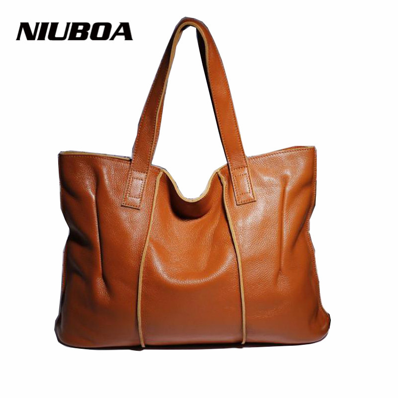 NIUBOA Woman Genuine Leather Handbag Large Cowhide Handbag Big Tote High Quality Women's Messenger Bag Shoulder Bag Bolsos Mujer genuine leather women bag 2018 summer handbag wrinkle skin female high quality cowhide shoulder crossbody bolsos mujer beach bag