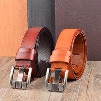 LGFD87B1 Men Black Formal Wide Pin Buckle Leather Belt Classic Genuine Leather Belt