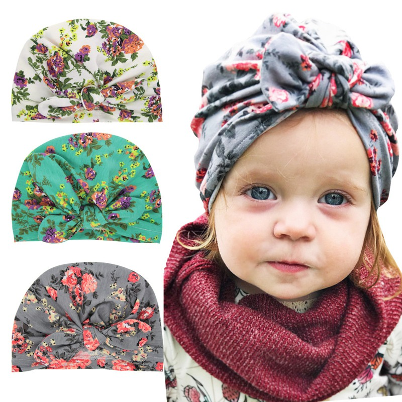 Baby Headband Hat With Bowknot Rubber Ear Print Cotton Stretchy Turban Headband Infant Head Wrap Beanie Hat Girls Boho Headband