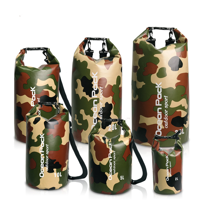 Camouflage Ultralight Waterproof Bag Silicone Pack Dry Sack Waterproof Bags For Kayaking Rafting Camping Hiking 2L/5L/10L/15L/20