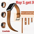 GOOSUU New 3 in1 Genuine Leather watch Strap 42mm WatchBands for apple watch band 38mm black iwatch+Connector brown red blue
