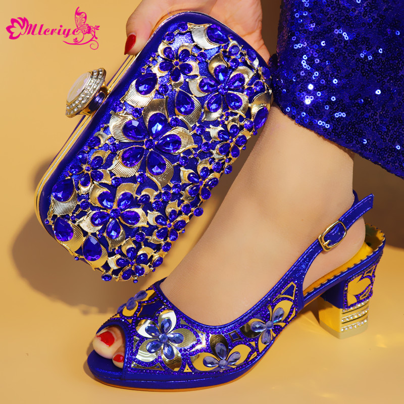 2018 New Arrival Design Italian Shoes With Matching Bags Set Nice Quality African Shoes And Bag Sets With Rhinestones Blue 2018 new sky blue party slip shoe on mature italian shoes with matching bags rhinestones high quality african shoes and bag set