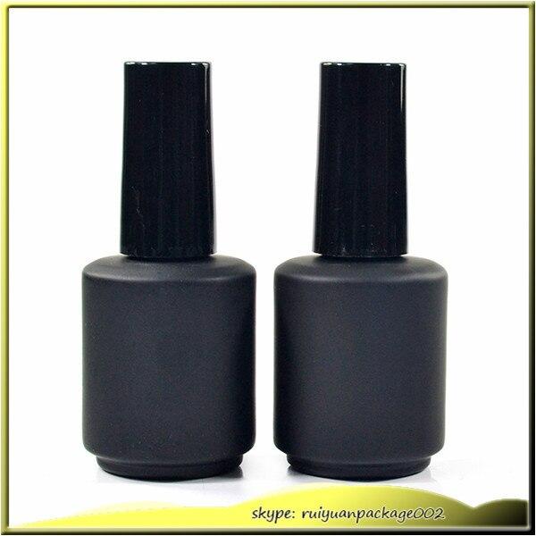 100pcs 17ml Matt Black Gl Nail Polish Bottle Empty With A Lid Brush Cosmetic