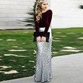 Glitter Prata De Lantejoulas Maxi Saia para As Mulheres de Cintura Alta Lantejoulas Sereia Saias Longas Custom Made Faldas saia Jupe femme