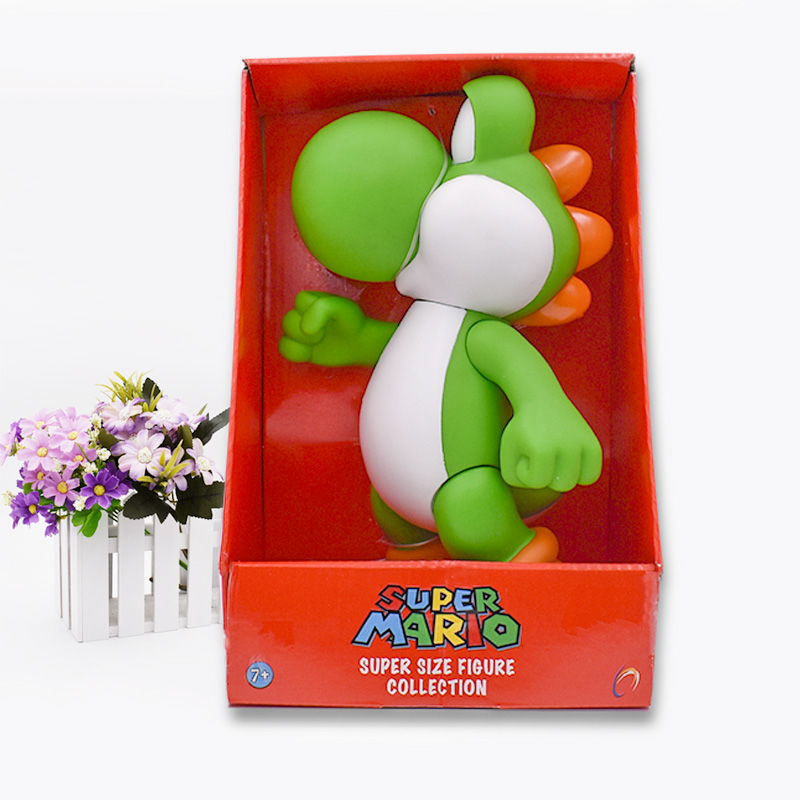 Super Mario Bros 23cm Mario Luigi Green Yoshi Dimosaur  Action Figure PVC  Kids Big Size Hot Toys For Children Free Shipping
